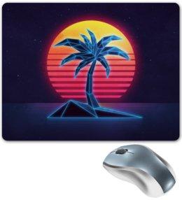"""Коврик для мышки """"Digital"""" - пальма, закат, неон, диджитал, digital art"""
