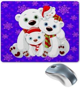 """Коврик для мышки """"Белые медведи"""" - животные, медведь, снежинки, белый медведь, полярные медведи"""