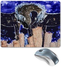 """Коврик для мышки """"Ночь над городом"""" - арт, лошадь, ночь, сюрреализм"""