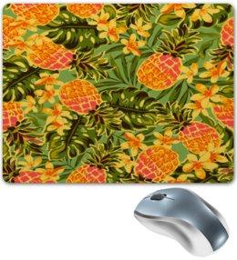 """Коврик для мышки """"Ананасы"""" - узор, листья, фрукты, тропики, ананасы"""