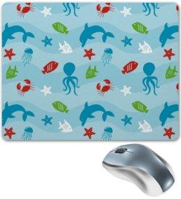"""Коврик для мышки """"Морской"""" - рыба, краб, осминог, медуза, дельфин"""