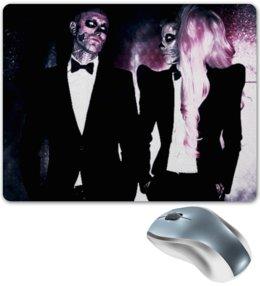 """Коврик для мышки """"Lady Gaga & Rick Janest Skillet"""" - череп, любовь, стиль, скелет, прикольные, в подарок, оригинально, lady gaga, леди гага"""