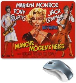 "Коврик для мышки ""Ретро плакат, ""В джазе только девушки"""" - ретро, кино, marilyn monroe, мерилин монро, в джазе только девушки"