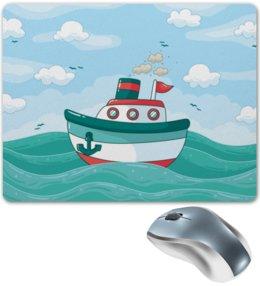 """Коврик для мышки """"Морской"""" - море, детский, волны, корабль, морской"""