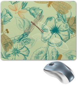 """Коврик для мышки """"Флора и Фауна"""" - цветы, рисунок, стильный, цветочный, стрекозы"""