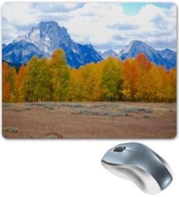 """Коврик для мышки """"Деревья в горах"""" - горы, пейзаж, природа, лес, осень"""
