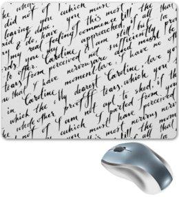 """Коврик для мышки """"Письмо"""" - английский, слова, письмо, черно-белые, буквы"""