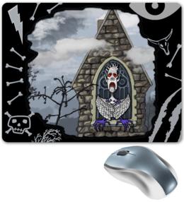 """Коврик для мышки """"Бессмертный"""" - череп, готика, арт, авторская, глаз, скелет, красный, облако, кости, дизайн"""