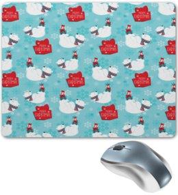 """Коврик для мышки """"Белые медведи"""" - новый год, медведь, мишка, рождество, белый медведь"""