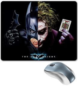 """Коврик для мышки """" BATMAN  JOKER. БЭТМЕН И ДЖОКЕР"""" - надпись, стиль, маска, игральные карты, персонажи"""