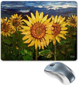 "Коврик для мышки ""sunflowers"" - цветы, солнце, картина, небо, масло, поле, подсолнух, tm kiseleva, sunflowers, yellow"