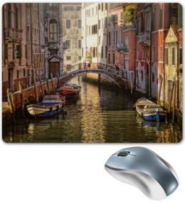 """Коврик для мышки """"Венеция"""" - мост, река, венеция, лодки, venice, boats, canal"""