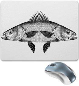 """Коврик для мышки """"двуглавая рыба"""" - fish, гравюра, engraving"""