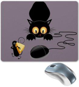 """Коврик для мышки """"Кот сыр и мышка"""" - кот, мышь, мишка, сыр"""