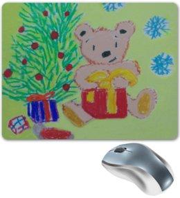 """Коврик для мышки """"Новогодний мишка"""" - новый год, мишка, подарки"""