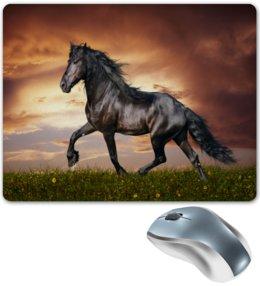 """Коврик для мышки """"Лошадь"""" - лошадь, конь, животные, природа, черный"""