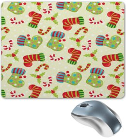 """Коврик для мышки """"Праздник"""" - праздник, конфеты, новый год, подарки, носок"""