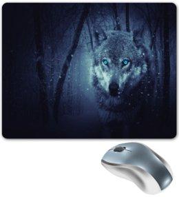 """Коврик для мышки """"Волчий взгляд"""" - волк, животные, хищник, природа, снег"""