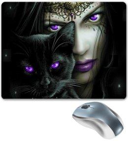 """Коврик для мышки """"КОШКИ. МАГИЯ КРАСОТЫ"""" - кошка, девушка, стиль, красота, магия"""