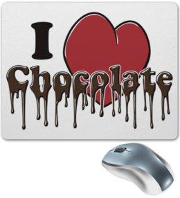 """Коврик для мышки """"Люблю Шоколад"""" - сердце, любовь, люблю, шоколад, сладкий"""