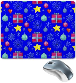 """Коврик для мышки """"новый год"""" - новый год, звезды, зима, игрушки, подарки"""