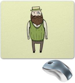 "Коврик для мышки ""Джентльмен с моноклем"" - шляпа, борода, усы, джентльмен, монокль"