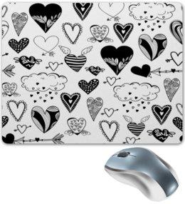 """Коврик для мышки """"Сердечки"""" - черно-белые, сердечки, день влюбленных, любовь, сердце"""