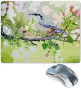 "Коврик для мышки ""Птичка"" - цветы, птица, природа, птичка"