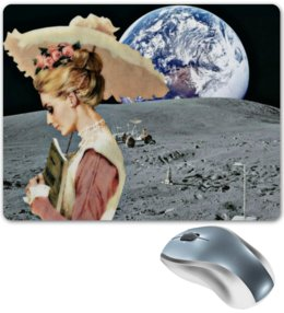 "Коврик для мышки ""Девушка на луне"" - арт, девушка, ретро, земля, луна"