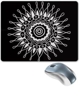"""Коврик для мышки """"Indian LAce"""" - солнце, круг, символ, чернобелое, кружево"""