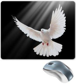 """Коврик для мышки """"Голубь"""" - голубь, птицы, животные, полет, белый"""
