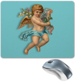 "Коврик для мышки ""Ангел"" - ангел, крылья, цветы, ребенок, букет"