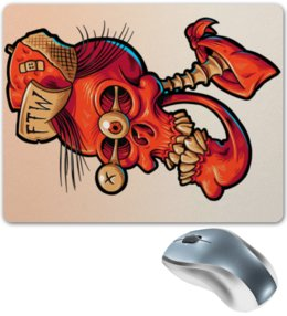 """Коврик для мышки """"Череп весёлый арт"""" - skull, череп, арт, прикол, дизайн"""