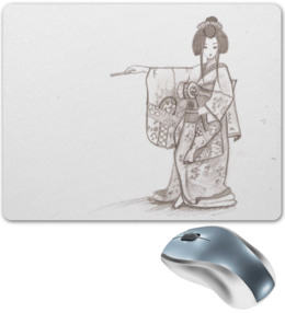 """Коврик для мышки """"тонкость"""" - geisha, japan, гейша, кимоно, рёкан, япония"""