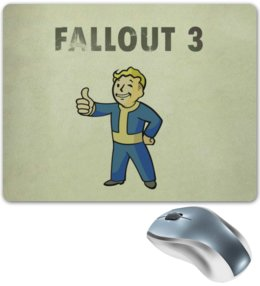 "Коврик для мышки ""Fallout 3"" - лайк, fallout, vault boy, fallout 3"