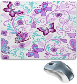 """Коврик для мышки """"Цветные бабочки"""" - бабочки, цветы, узор, весна, природа"""