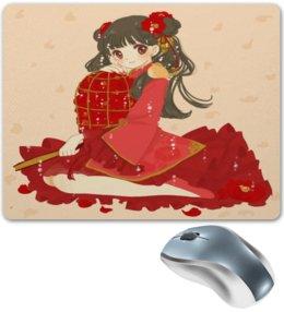 """Коврик для мышки """"Гейша"""" - девушка, цветы, аниме, гейша, мульт"""