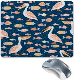 """Коврик для мышки """"Пеликан"""" - птицы, волны, пеликан, море, рыба"""