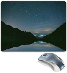 """Коврик для мышки """"Вечерний пейзаж"""" - звезды, природа, горы, вода, берег"""