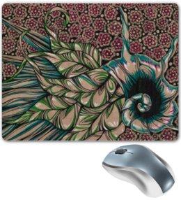 """Коврик для мышки """"Морская улитка"""" - цветы, листья, графика, улитка, морское"""