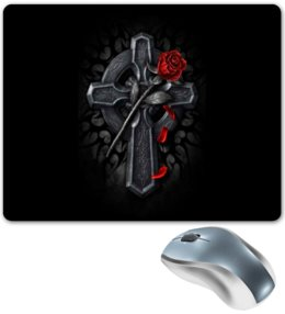 """Коврик для мышки """"Крест с красной розой"""" - роза, крест, готика, татуировка, фэнтези"""