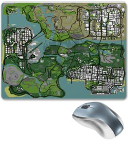 "Коврик для мышки ""Карта GTA SA"" - grand theft auto, gta sa, гта са, gta san, map, san andreas"