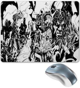 """Коврик для мышки """"Черно-белый рисунок"""" - монстр, рисунок, комиксы, черно-белые, оружие"""