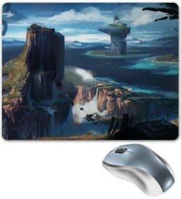 "Коврик для мышки ""Halo 4"" - вода, вид, скалы, halo, halo spartan"