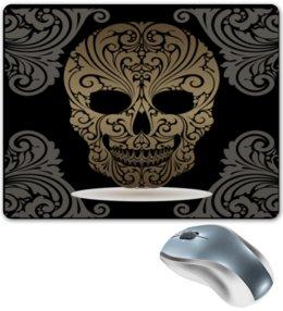 """Коврик для мышки """"Череп"""" - череп, узор, скелет, золото, роспись"""