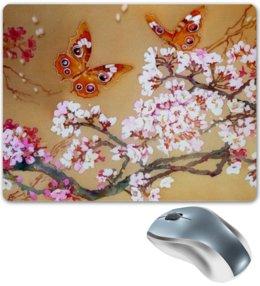 "Коврик для мышки ""Бабочки на цветущей вишне."" - бабочки, цветы, весна, flowers, butterfly, spring, весеннее"