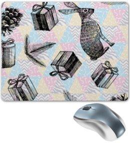 """Коврик для мышки """"праздник"""" - праздник, новый год, зима, заяц, подарки"""