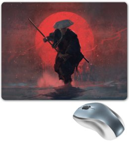 "Коврик для мышки ""Самурай"" - самурай, воин, digital art, red sun, красное солнце"