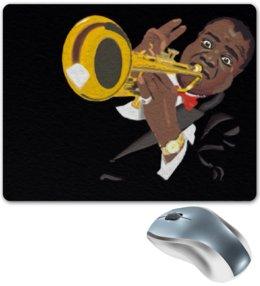 """Коврик для мышки """"Louis Armstrong"""" - музыка, музыкальные инструменты, jazz, джаз, труба, louis armstrong, луи армстронг, trumpet"""
