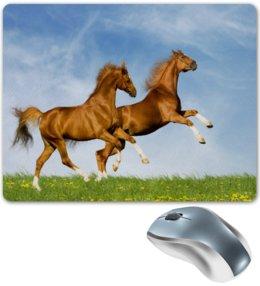 """Коврик для мышки """"Кони на лугу"""" - лошади, жеребцы, кони, животные, природа"""